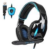 Sades SA902 USB Virtual 7.1 Envolvente Sonido Gaming Headset, Gaming Auriculares con micrófono Inteligente cancelación de Ruido LED luz para PC y Mac(Negro& Azul)